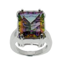 Wholesale mystic fire topaz rings - Fire Mystic Topaz Band Ring 925 Sterling Silver Wedding Ring Rainbow Sparkle wholesale Free Shipping Ring Size 7 8 9