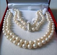 """Wholesale 14k yellow gold chain 18 - FREE SHIPPING>>2 Rows 8-9 MM AKOYA SALTWATER PEARL NECKLACE 17-18"""""""