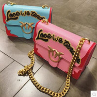 Wholesale Mix Color Handbag Shoulder Bag - 2017 sweet style mixed color women handbags gold chain message bags ladies single shoulder cute style embroidered bags patchwork flap