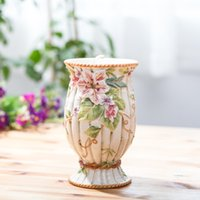 Wholesale Minimalist Vases - Flowers Lilies Patterns Ceramic Vases Home Decor New Vase Modern Minimalist Desktop Decoration Water Containers Wedding Gift