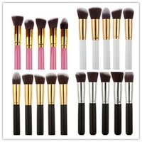 Wholesale Stipple Powder Brush - 5sets Professional Powder Blush Brush Facial Care Facial Beauty Cosmetic Stipple Foundation Brush Makeup Tool 5pcs set in stock