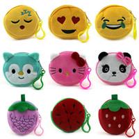 Wholesale 77 Cartoon - 77 Styles Cartoon Coin Bag Plush Kids Purse Cute Bags QQ Expression Coin Purses lovely Emoji Coin Bag Kids Purses