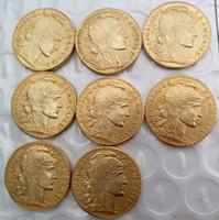 ingrosso artigianato d'ottone-Francia 20 Franchi Set completo (1907-1914) 8 pz Gallo Oro Copia Coin Libera Shippi Ottone Ornamenti Artigianali replica monete accessori decorazione della casa