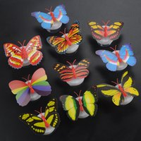Wholesale Beautiful Butterfly Lamp - Beautiful Butterfly LED Night Light Lamp with Suction pad Lamp Led Night Lights