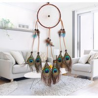 Wholesale peacock lovers - Peacock Feathers Dreamcatcher Wind Chimes Lace Dream Catcher Circular Windbells With Wooden Beads For Home Hanging Deco Ornament 11 8lz B R