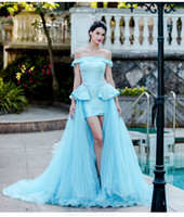 2017 Immagine Reale Real Peplum Sexy Formale abito da sera maniche corte Hi-Lo Colonna Corte dei treni Lace-Up Back Mermaid Luxury Party Prom Dress