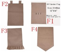 "Wholesale Decorative Flag Wholesaler - DIY Burlap Garden Flags 4Styles 12""Wx18""H DIY Jute Liene Yard House Decorative Hanging Flag Courtyard Printed Ads Flags"
