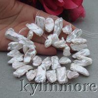"Wholesale Natural Keshi Pearls - 8PE2543 11mm x 23mm Natural White Pink Purple Freshwater Keshi Pearl Biwa Loose Beads Strand 14.5"""