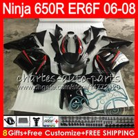 Wholesale ninja red - 8Gifts 23Colors Body For KAWASAKI NINJA 650R ER6F 06 07 08 Ninja650R 20HM18 New red black ER 6F 06-08 ER6 F ER-6F 2006 2007 2008 Fairing Kit