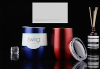 Wholesale Coloured Mugs Wholesale - 9 oz Stemless Cup stainless-steel wine glass Fifteen colour double Mugs powder coated stainless steel glass