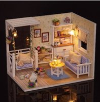 Wholesale Dollhouse Miniature Led Lights - Free Shipping !!! Cuteroom 1 24 Dollhouse Miniature DIY Kit With LED Light Cover Wood Toy Doll House Room Kitten Diary H-013