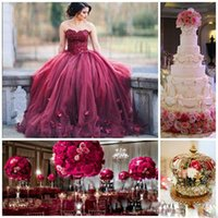 Wholesale Gray Silk Petals - Dark Red Ball Gown Prom Dresses Sweetheart Lace Tulle Petal Embellished Floor Length Evening Gowns 2017 Sweet 16 Dresses