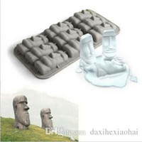 Wholesale Easter Silicone Moulds - New 2015 Easter Island Moai Stone Statues Ice Cream Mould Summer Mini Silicone Cake Mould Ice Tray Ice Cubes DIY Mould