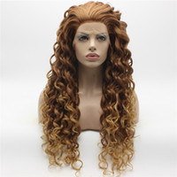 Wholesale Long Curly Rooted Wigs - Iwona Hair Curly Long Two Tone Auburn Root Honey Blonde Ombre Wig 18#30 27HR Half Hand Tied Heat Resistant Synthetic Lace Front Wig