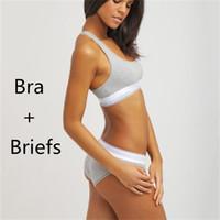 Wholesale sexy girls briefs - New Famous Brand Women Bra+Briefs Underwear Set High Quality Cotton Seamless Sexy Bikini+Bras Sets Underpants for Girls