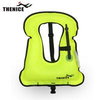 Wholesale Child Inflatable Life Vest - Wholesale- Thenice Portable Inflatable Life jacket Buoyancy vest Snorkeling dive suit set swim For Adult Kids Child Super light
