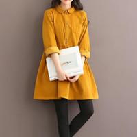 Wholesale Corduroy Shirt Dresses - Wholesale- dress shirt 2016 winter new women mini dress female short paragraph bottoming loose long-sleeved corduroy dress   girl
