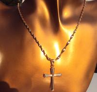 Wholesale Crucifix Necklace Mens - Vogue Womens Mens True 18K Gold Crucifix Cross Timeless Pendant Necklace SETS