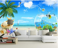 Wholesale sea print fabric resale online - Ocean view of the sea view modern wallpaper for living room modern wallpaper for living room