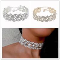 Wholesale Wholesale Jewellery Big Necklaces - 20pcs ashion Luxury Full Big Rhinestone choker Crystal statement necklace Women Chockers Chunky Necklace Collier Wedding jewellery F128
