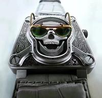 Wholesale Tattoo Skulls - 46MM BURNING SKULL AUTOMATIC BR 01 BR01 BR01-92 AVIATION ART DECO CARVE TATTOO MEN WATCH COOL LIMITED EDITION WRISTWATCH