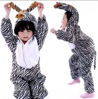 Wholesale Zebra Christmas Gifts - Christmas Halloween Gift Children Zebra Party Costume Cartoon Animal Kids Cosplay Costume Clothes Performance
