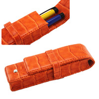 Wholesale Orange Fountain Pens - Wholesale- Free Shipping Double Pen Leather Pouch Top Washed CROCODILE pattern orange Fountain Pen Bag Rollerball Pen Case