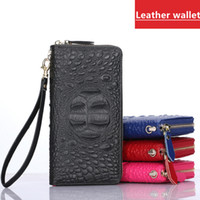 Wholesale New Women S Leather Wallet - New Lady Leather Cow Leather Crocodile Pattern Long Wallet Women 's Clutch