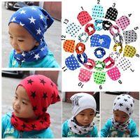 bebek kepleri pamuklu desen toptan satış-2 Adet / takım Moda Sıcak Satmak Yıldız Desen Pamuk şapka ve eşarp Sevimli Çocuk Baby Boy Bahar Sonbahar Çocuk Şapka Eşarp Yaka Yumuşak Kap