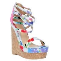 weiße blumige fersensandalen großhandel-Kolnoo Womens Fashion Handmade 15cm Wadge Heel Zipper Knöchelriemen Blume Leder Sandalen Schuhe Weiß XD118