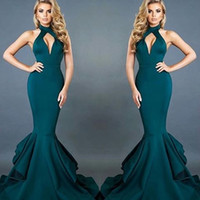 Wholesale Out Side Lights - 2017 Sexy Halter Mermaid Evening Dresses Hunter Green Cheap Long Hollow Out Backless Prom Dresses Carpet Fashion Wear Pageant Celebrity Wear
