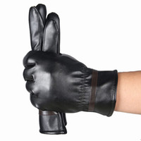 Wholesale Best Leather Gloves - Wholesale- New cool tactical gloves men Warm Cashmere Leather Male full Finger Waterproof PU Leather Best quality guantes male gloves #yl