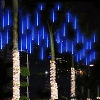 светодиодные световые шнуры оптовых-Euus Plug светоизлучающий диод лента 30 см 50 см светодиодные рождественские огни водонепроницаемый метеоритный дождь трубы свет для украшения свадьбы 8 трубы