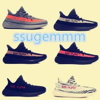 Wholesale Gift Boxes Lace - 8 colors size 5-11 kanye west shoes SPLY 350 boost 350 v2 Beluga Glow In The Dark copper red Running Shoes with Gift [with original box]