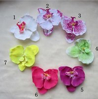 orchid clips wholesale NZ - 7 pcs lot Baby Girls Hair Accessories Moth Orchid Flower Silk Decoration Flower With Clip Headbands 7 Colors Hair Clips xth052
