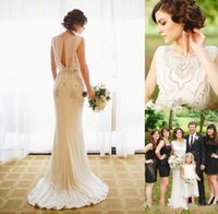Wholesale Bead Crepe Wedding Dress - 2017 Jenny Packham Wedding Dresses Crepe Sheath Bridal Gowns with Beading Crystal Summer Beach Vestido De Novia Custom Wedding Gowns