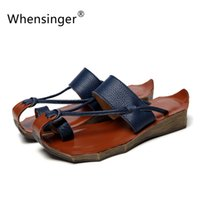 Wholesale Genuine Woman Leather Sandals - Wholesale-Whensinger 2016 Women Sandals Leather Gladiator Shoes Female Genuine Leather Slippers Summer Beach Retro Casual Fashion 8125