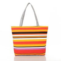 Wholesale Bags Handbags Fashion Colorful Style - Korean Style Colorful Stripes Shoulder Bags Autumn Winter Fashion Ladies Designer Handbags Canvas Container Women Bag Fashion Bags