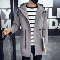 Wholesale 2016 New Fashion Men s Jacket Fall In The Long Coat Metrosexual Slim Young Hooded Jacket Waist Jacket Mens Casual