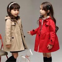 Wholesale Wholesale Kids Clothing Europe - Girls Coat Kids Clothing 2017 Autumn Button Cardigan Europe and America Fashion Long Sleeve Tench Coats DR-323