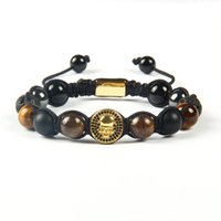 Wholesale Tigers Eye Skull Bracelet - Powerful Friendship Jewelry Wholesale Black Cz Round New Skull With 10mm Lava Bronzite Tiger Eye Stone Beads Macrame Bracelet For Men