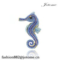 Wholesale Rhinestone Horse Brooch - 100PCS Lot 2017 Animal Sea Horse Brooch Pins for Bridal Wedding Rhinestone Crystals Brooches For Women Jewelry Silver Tone Free Shipping