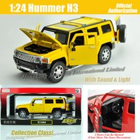 Wholesale Model Hummer Car Toys - 1:24 Scale Metal Diecast Luxury SUV Car Model For Hummer H3 Collection Class Cross Country Off-road Vehicle Toys With Sound & light
