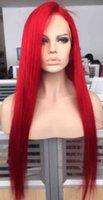 Wholesale Malaysian Full Lace Wigs Red - Hot Sale Blonde Virgin Hair Red Wig Silk Straight Brazilian Red Full Lace Wig Free Shipping