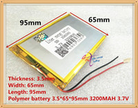 Wholesale Tablet Ion - Three wire battery 3.7V 3200mah (polymer lithium ion battery) Li-ion battery for tablet pc 7 inch MP3 MP4 356595 Free Shipping