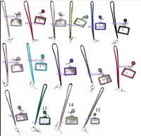 Wholesale Id Badge Reel Rhinestone - Rhinestone Retractable Badge Reel, Horizontal ID Card Holder, LanyardCombo Set