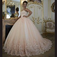 Wholesale Modest Sweetheart Prom Dress - Light Champagne Ball Gown Quinceanera Dresses Sweetheart Appliuqes Tulle Blush Pink Modest Prom Dresses Sweet 16 Gowns Evening Dresses