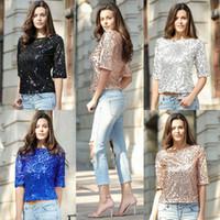 Wholesale Ladies Sparkle Shirts - 2017 summer Hot Sequin Womens Ladies Sparkle Glitter Tank Coctail Party Cotton Blend Tops T-Shirt Blouses