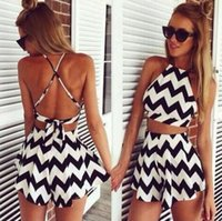Wholesale Cheapest Black Halter Neck Dress - Cheapest Europe and United States summer women black and white printing hanging neck cross halter suit shorts