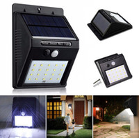 luces led canal al por mayor-20 LED Energía solar Punto de luz Sensor de movimiento Jardín exterior Luz de pared Lámpara de seguridad Canaleta OOA3130